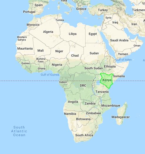 Kenya sits on the Equator in East Africa